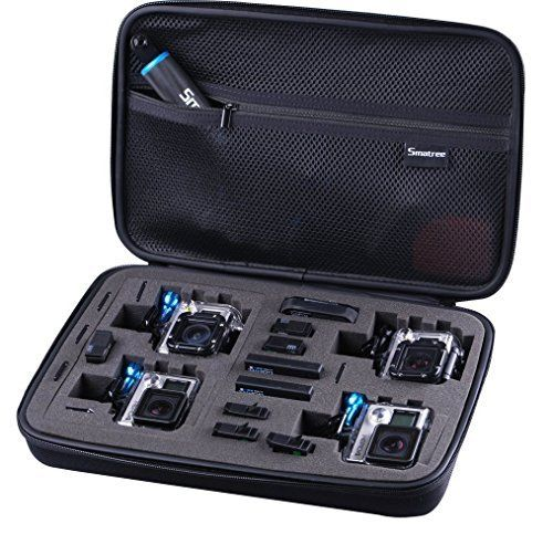 "Perfectly shaped compartments for GoPro®HERO4, HERO3+, HERO3, HERO2, HERO1 camera and ESSENTIAL accessory (Refer to pictures), Recommend for traveling and place in backpack Protect cameras and accessories from scratching, shock and dust, and keep them safe and in good condition Come with Buckle and Hang Strap, perfect for carrying on trips. Sturdy case with a strong zipper pulls up very smooth The network of cover comes with Zipper, Better storage accessories Large Size SmaCase fits for 2- 4 GoPro Cameras (Dimensions: 13.4"" X 9.4"" X 3"")"