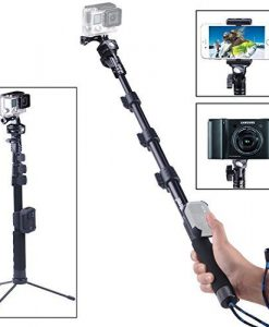 SmaPole Y2 Telescoping Pole / Monopod(17.5″ to 48.5″)+ Folding 3 Leg Support Stand for GoPro 4