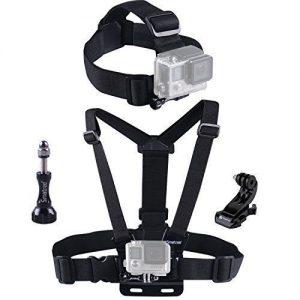 Adjustable Head Strap Mount + Chest Harness Belt Strap + Aluminum Thumbscrew + J-Hook for Gopro , sjcam , SJ4000