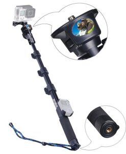 SmaPole Y2 Telescoping Pole / Monopod(17.5″ to 48.5″)+ Folding 3 Leg Support Stand for GoPro Hero, Hero4