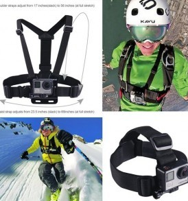 Adjustable Head Strap Mount + Chest Harness Belt Strap + Aluminum Thumbscrew + J-Hook for Gopro , sjcam , SJ4000 SJ5000